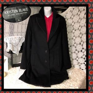 Kristin Blake Black Lambs Wool Trench Coat Size 6